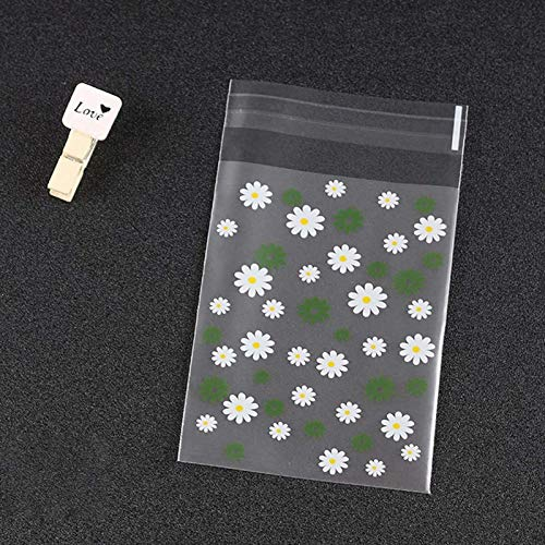 Teblacker 200 Stck OPP-Taschen aus klarem Kunststoff Verdickte Selbstklebende kleine Geschenktten Klare Gnseblmchen-Verpackungstasche Party Candy Bag(Gelb)