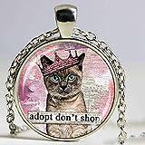 Mode Bijoux Collier Chat Animaux Adoption Amimel Pendentif Collier Animal pour Hommes Femmes