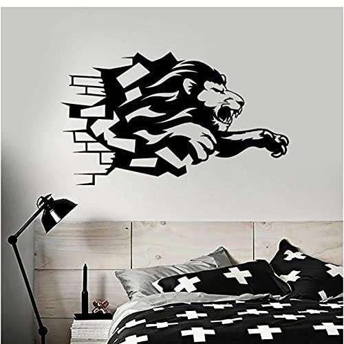 Calcomanía de vinilo para pared de ladrillo León africano Animal depredador pegatinas de pared niños dormitorio decoración diseño extraíble arte decoración de pared 71X42 CM