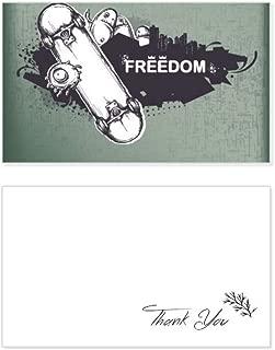 Hip-Hop Freedom Skateboard Monster Pattern Thank You Card Birthday Wedding Business Message Set