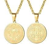 PROSTEEL Chapado en Oro Collar Medalla San Benito Tono Oro Regalo para Hombre