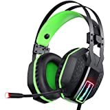 Mifanstech V-10 Gaming Headset for Xbox One Playstation 2 PS4 PC - 3.5mm Surround Sound, Noise Reduction Game Headphone with Microphone and Volume Control for Laptop, Tablet,Switch Games (Green)
