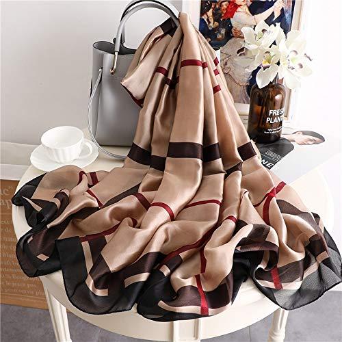 2020 verano de la marca de lujo de las mujeres bufanda de seda suave de la moda de la señora bufandas de diseñador de mujeres chales envolturas largo tamaño foulard 180 * 90 (color: FS343 KHAKI)