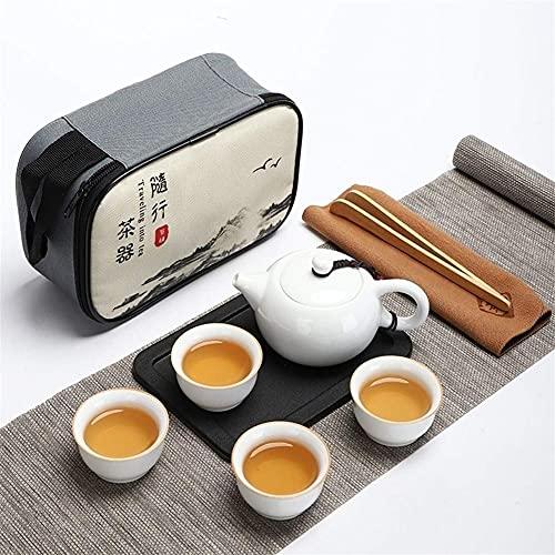 Tea Table Teapot Sets,Portable Travel Kungfu Tea Set Handmade Chinese, Porcelain Teapot Travel White Porcelain Jade Porcelain, High-End Tea Set,8-Piece Set (Color : B)