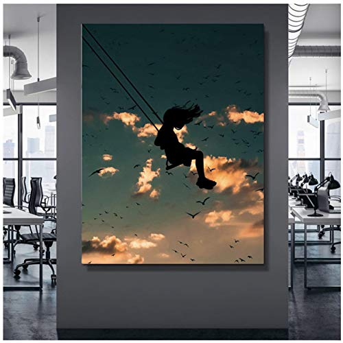 Pintura de lienzo moderna Impresión en HD Chica en un columpio Imagen de paisaje Decoración del hogar Cartel de pared nórdico modular Sala de estar Dormitorio Regalo 20x28 pulgadas 1pcs Sin marco