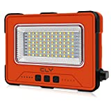 CLV Portable Work Light 1000LM, Rechargeable 12000MAH Solar Floodlights with USB, 2700K/4000K/6000K, Cordless Job Site Light for Car Repairing, Camping, Fishing, BBQ & Emergency Power Supply, Orange