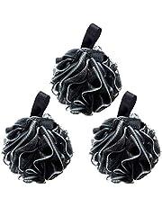 G2PLUS 3-pak czarne puff do kąpieli miękkie luofahs kąpiel prysznic gąbka peeling złuszczający szczotka do ciała puf ekstra gęsta piłka prysznicowa