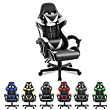 Soontrans Ergonomic Office Chair PC Gaming Chair Racing Chair for Gaming Computer Chair,E-Sports Chair with High-Back,Adjustable Headrest and Lumbar Support (Polar White)