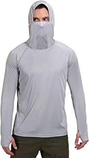 Litthing Men's Face Mask Sunscreen Quick-Drying Hoodie Thumb Hole Outdoor Long Sleeve Fitness Fishing Suit
