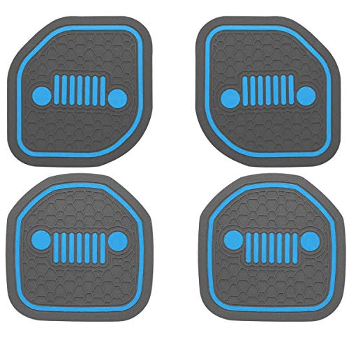 US-LXC Auto Cup Holder Coaster Insert: an Interior Accessory Fit for Sport & Rubicon of (Jeep Wrangler JL JLU & Gladiator JT) of 2018 2019 2020 2021,or A Car Liner Mat Pad, 4pcs for (Front+Rear)-Blue