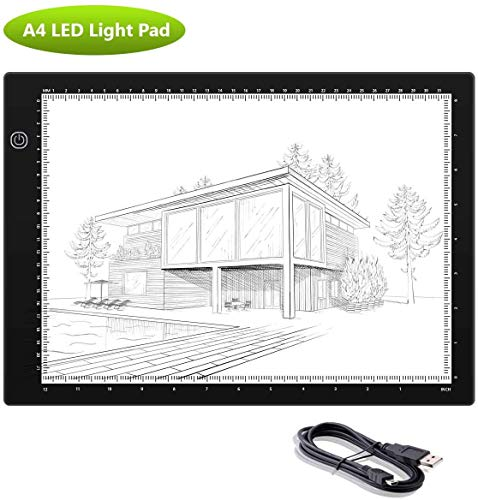 A4 LED Light Pad - Super Bright USB Powered Professional Light Box Dimmable Brightness Light Board for Artists Drawing Sketching Animation Designing Stencilling X-ray Viewing (A4S)
