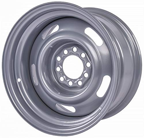 """JEGS Rally Steel Wheel   15 x 8   5 x 4.5"""" and 5 x 4.75"""" Wheel Bolt Pattern Spacing   6 mm Offset   4.25"""" Backspacing   Powder Coated Silver   3.27"""" Center Bore"""