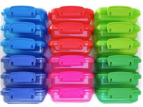 Mini Lock-Top Snack Containers, set of 6, colors may vary