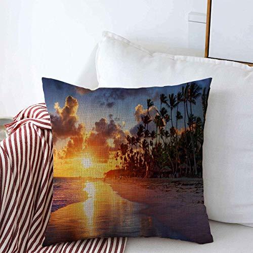 Throw Pillow Cushion Cover Case Lagoon Sunset Palm Tree Sandy Beach Sunrise Nature Parks Cancun Cayman Aruba Mexico Boracay Pillow Cover Pillow Case 45 X45 cm