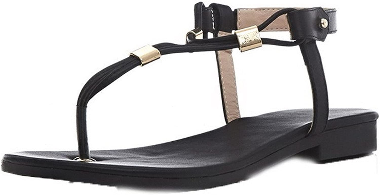 WeenFashion Women's Pull-On PU Split-Toe Low-Heels Solid Sandals
