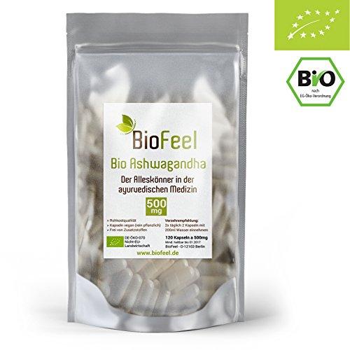 BioFeel - BIO Ashwagandha Kapseln - 120 Stk., - 500mg - Indische Ayurveda Lehre - Indischer Ginseng