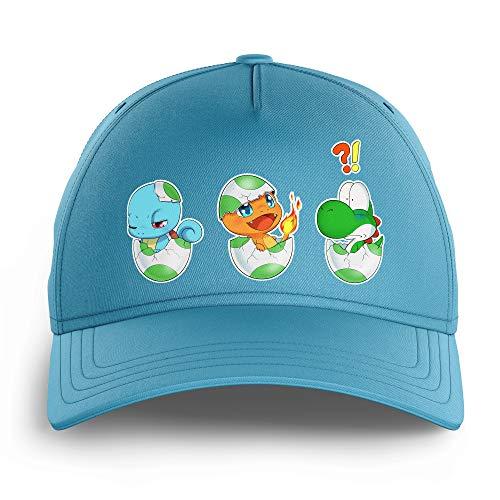 OKIWOKI Yoshi - Pokémon Lustiges Himmelblau Kinder Kappe - Yoshi, SCHIGGY und GLUMANDA (Yoshi - Pokémon Parodie) (Ref:885)
