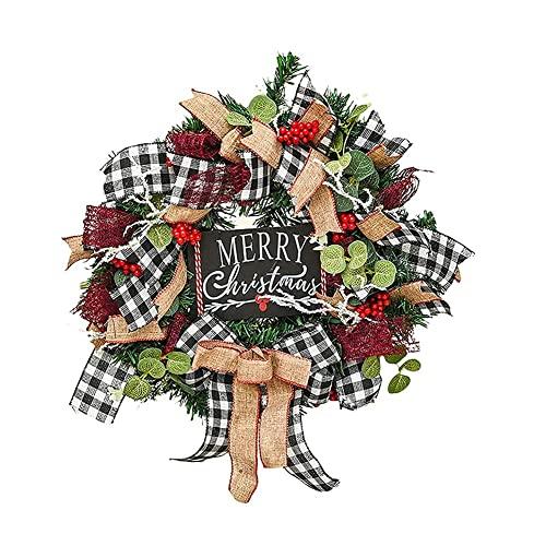 HAOJON Corona de Navidad de 10/15 Pulgadas para Puerta de Entrada, a Cuadros, con Lazo de Bayas, a Cuadros, Corona, Puerta de Entrada, rústica, con Adornos Mixtos