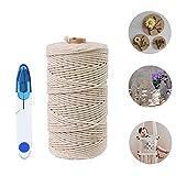 Macrame Cuerda,Hecha a Mano Craft Cuerda,Cordel de Algodón,natural trenzado algodon,Hilo Macramé,para Envolver...