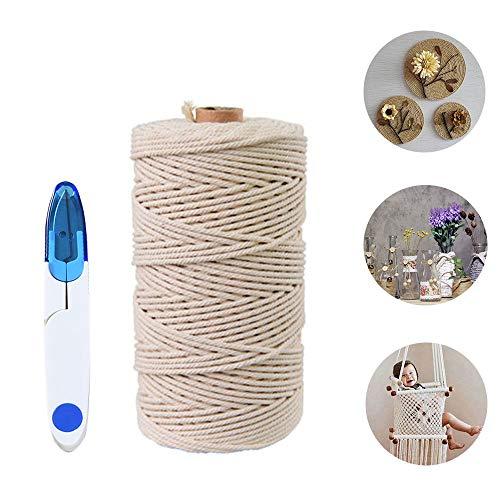 Macrame Cuerda,Hecha a Mano Craft Cuerda,Cordel de Algodón,natural trenzado algodon,Hilo Macramé,para Envolver Regalo Navidad Colgar Fotos Manualidades Costura,Incluye un par de tijeras (200M-3mm)