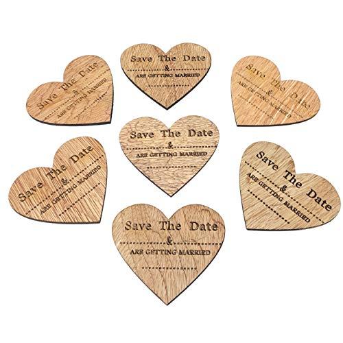 """Kühlschrankmagnete aus Holz in Herzform mit englischer Aufschrift """"Save The Date"""", perfekt für Hochzeitseinladungen, Dekoration, im Vintage-Stil 80mm x 70mm braun"""