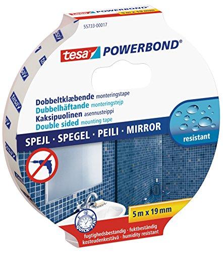 tesa 55733-00017-02 Powerbond Spiegelklebeband, doppelseitig, für feuchte Bereiche, 5 m x 19 mm, weiß, 5 m x 19 mm
