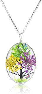 WDSHOW Pressed Dried Flower Life Tree Butterfly Crystal Pendant Necklace