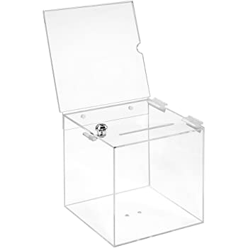 sudu® Spendenbox Aktionsbox Losbox mit Topschild A4 Acrylglas abschließbar