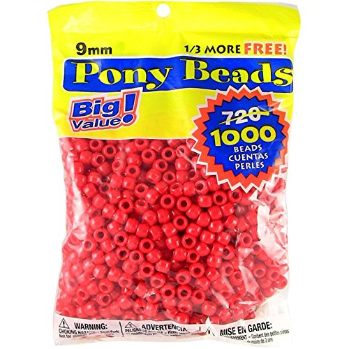 Darice Red Opaque Pony Craft Projects for All Ages Jewelry, Ornaments, Key Chains, Hair Round Plastic Center Hole, 9mm Diameter, 1,000 Beads Per Bag, 1000 Count