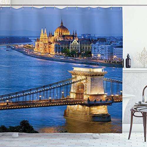 ABAKUHAUS Europeo Cortina de Baño, Río del Puente de Budapest, Material Resistente al Agua Durable Estampa Digital, 175 x 200 cm, Multicolor