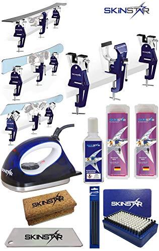 SkinStar Skiwax Set 11-teilig Skispanner Bügeleisen und Universal Wachs Belagsausbesserung