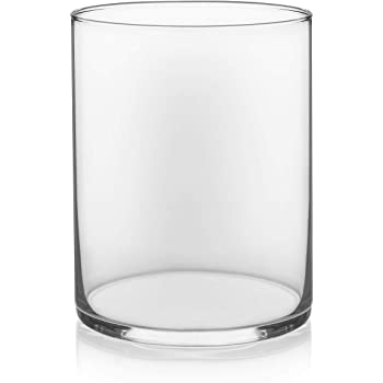 """Floral Supply Online - 8"""" Tall x 5"""" Wide Cylinder Glass Vase for Weddings, Events, Decorating, Arrangements, Flowers, Office, or Home Decor."""