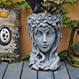Sungmor Creative Goddess Head Planter Statue for Garden Ornaments | 9×9×14 Inch Premium Resin | Cool Face Large Diameter Flower Pot for Patio Lawn Garden Yard Decor