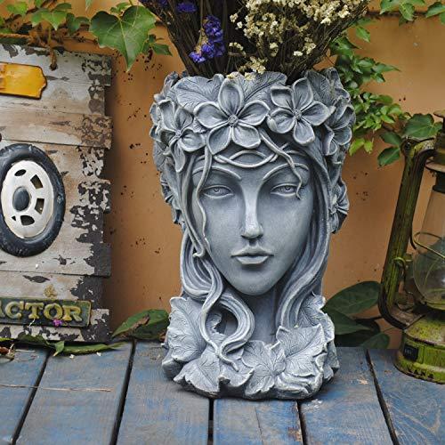Sungmor - Statue de fleurs créative pour décoration de jardin - 23 × 23 × 35 cm - Résine de qualité supérieure - Grand diamètre - Pour terrasse, pelouse, jardin, cour