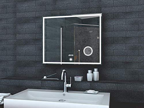 Lux-aqua Bagno Specchio Luce Specchio LED Orologio Specchio cosmetico Interruttore Touch 80x 60cm–lmc0860a