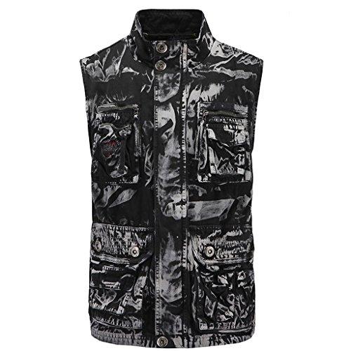 WSLCN Homme Gilet sans Manches Veste de Camouflage Coton Outdoor Vêtements d'alpinisme Vest Casual Multi-Poches Noir et Blanc FR L (Size 50)
