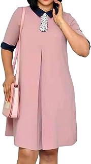 VERWIN Knee-Length Half Sleeve A-Line Women's Day Dress Comfortable Dress Party Dress