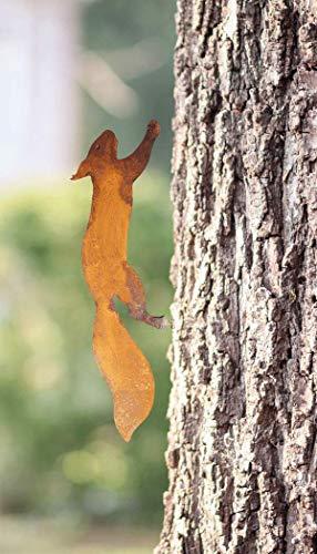 Eichhörnchen Baumstecker Edelrost | Garten-Deko aus Metall | 35 cm | natürliche Rost-Patina