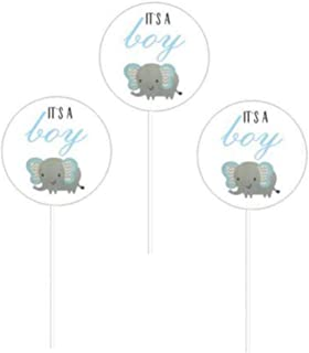 24 Pack Blue Boy Elephant Baby Shower Collection It's A Boy Cupcake Topper Pinkcs Birthday Party Baby Shower Favors