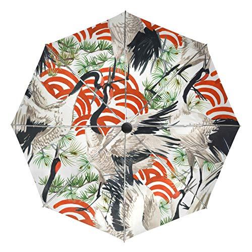 Kleiner Regenschirm Winddicht im Freien Regen Sonne UV Auto Compact 3-Fach Regenschirm Abdeckung - Japanischer Kranich Vogel Nahtloses Muster