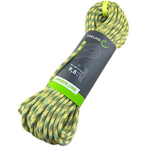 EDELRID Corda da arrampicata On Sight Dry 9,5 mm (corda semplice dinamica, impregnata), colore: giallo neve