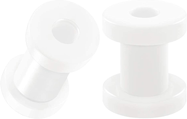 BIG GAUGES Pair of White Acrylic Flesh Tunnels External Piercing Jewelry Stretcher Screw-fit Ear Plugs Earring Lobe