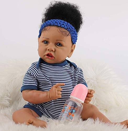 UCanaan Lifelike Reborn Baby Doll with Soft Weighted Body African American Realistic Girl Dolls Handmade Newborn 22 Inch Baby Dolls Best Toddler Gift Set for Ages 3+