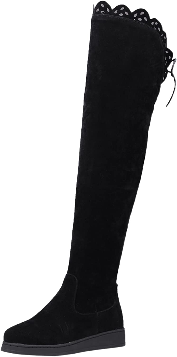 BIGTREE Long Boots Women Fall Winter Warm Faux Suede Black Lace Flat Over The Knee Boots