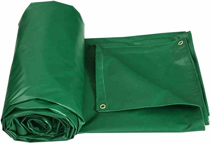 Bache imperméable avec Oeillets métalliques et Bords renforcés pour Toit, Camping, extérieur, Patio, réversible, Vert, épaisseur 0,4 mm, 450 g m2, 5 Tailles Disponibles