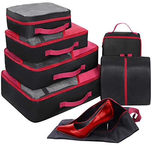 Packing Cubes Set 7-teilig, Faxsthy Packwürfel Packtaschen Kleidertaschen für Kleidung Unterwäsche Kosmetik Wasserdich für Reise Geschäftsreisen Urlaube und Wohnmobile (Schwarz+Rot)
