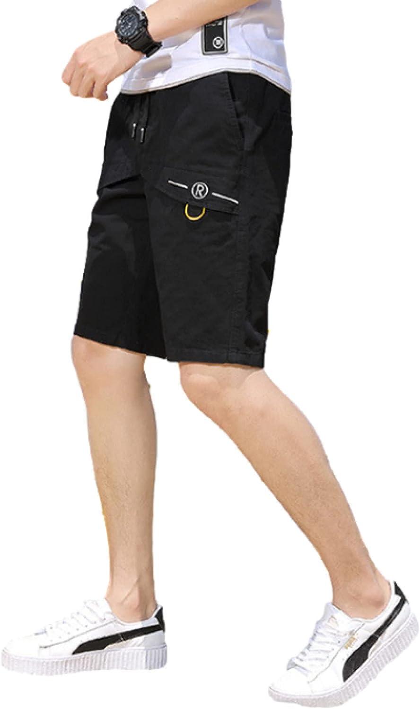 Segindy Men's Elastic Waist Cargo Shorts Summer Trend Loose Casual Fitness Sports