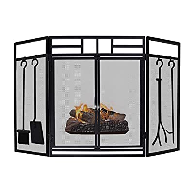 Fireplace Screen, Fireplace Tool Sets, 3-Panel Large Steel Mesh Fireplace Sreen with Doors, Solid Wrought Iron Metal Fire Place Panels, Fire Spark Guard Grate for Living Room, Bedroom Decor, Black by ART TO REAL