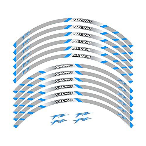 Elegantes Adhesivos Impermeables para Llantas, adecuados para Llantas con un diámetro de 17 Pulgadas, Hermoso Papel para decoración de Llantas For Yamaha FZ All Years (2B-Azul)