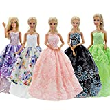 GIETIOS 5Pcs Handmade Clothes Dress for Barbie Doll Wedding Party Dresses Gown Outfit Costume Suit for 11.5 inch Dolls Random Style
